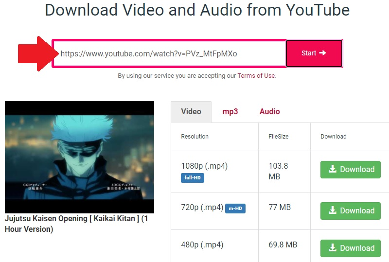 download youtube y2mate step2