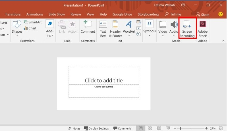 record powerpoint mp step 1