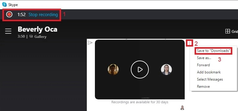skype for business stop recording